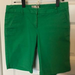 J Crew green Bermuda shorts